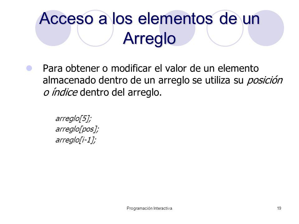 Programación Interactiva19 Acceso a los elementos de un Arreglo Para obtener o modificar el valor de un elemento almacenado dentro de un arreglo se ut