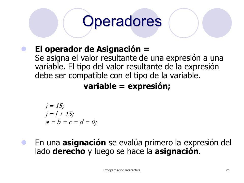 Programación Interactiva25 Operadores El operador de Asignación = Se asigna el valor resultante de una expresión a una variable. El tipo del valor res