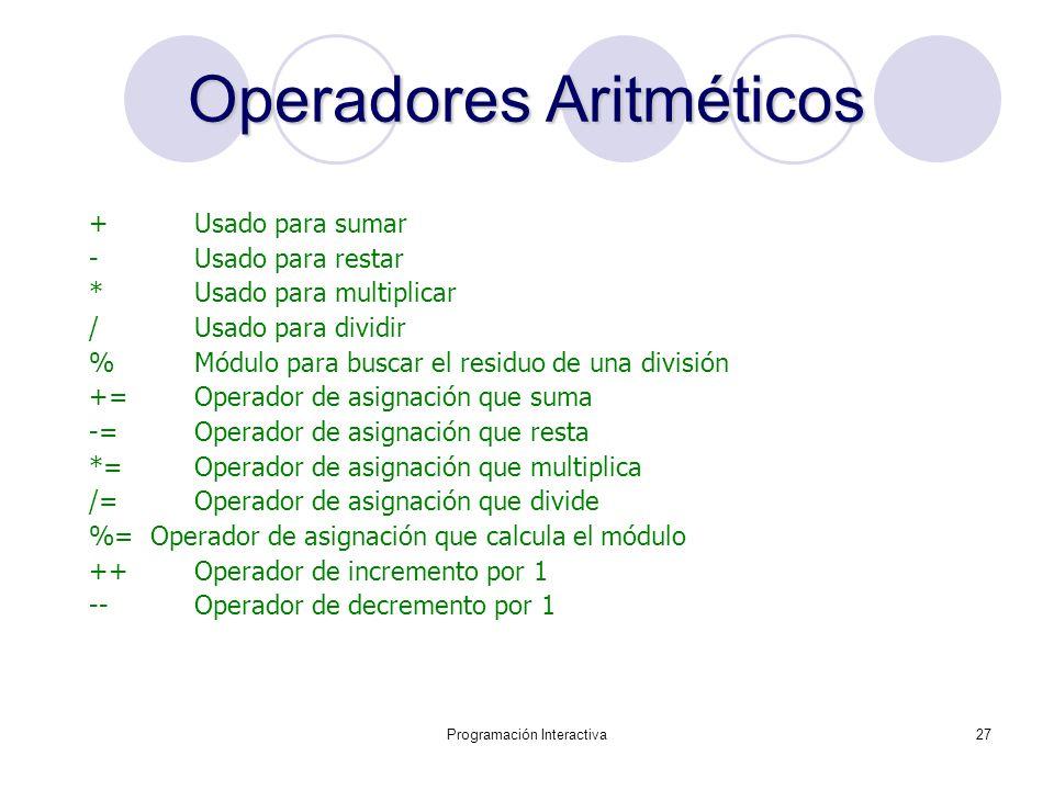 Programación Interactiva27 OperadoresAritméticos Operadores Aritméticos + Usado para sumar -Usado para restar * Usado para multiplicar / Usado para di
