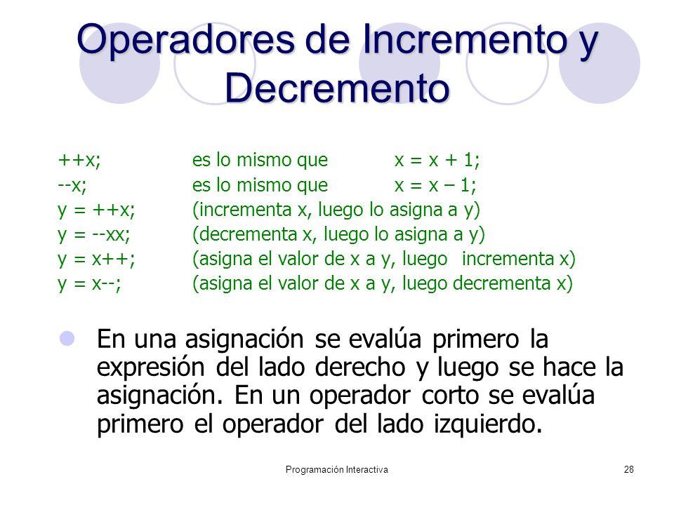 Programación Interactiva28 OperadoresdeIncrementoy Decremento Operadores de Incremento y Decremento ++x; es lo mismo que x = x + 1; --x; es lo mismo q