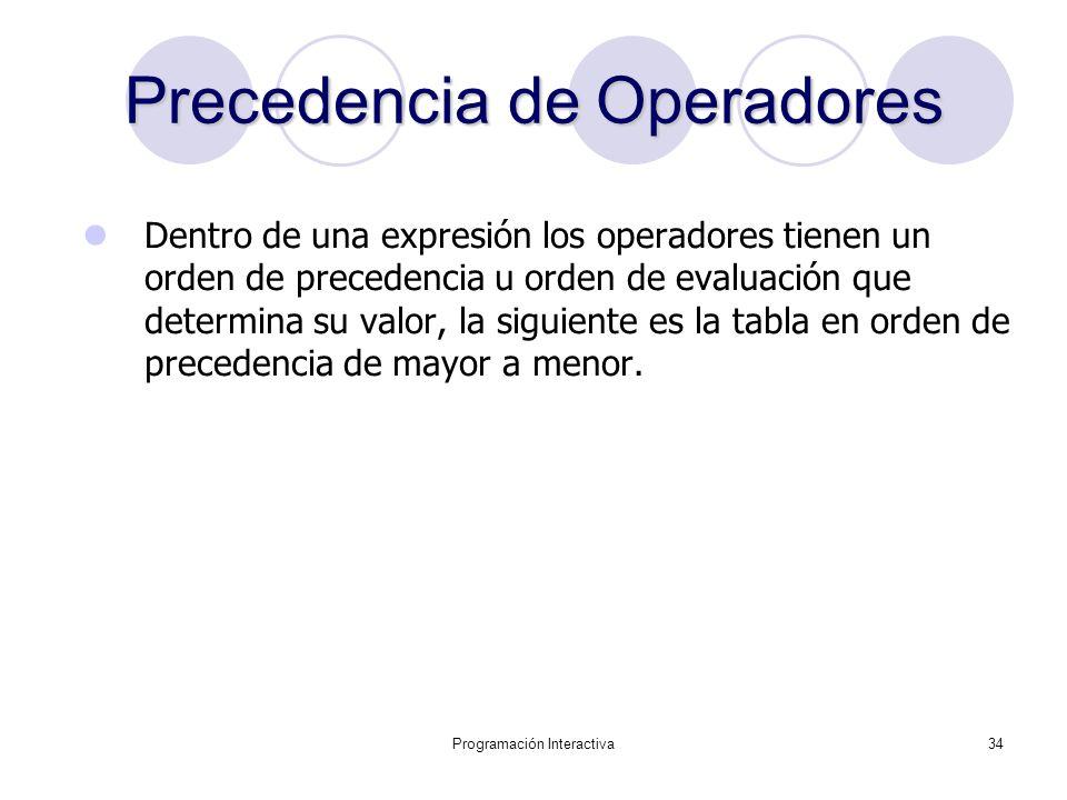 Programación Interactiva34 Precedencia de Operadores Dentro de una expresión los operadores tienen un orden de precedencia u orden de evaluación que d