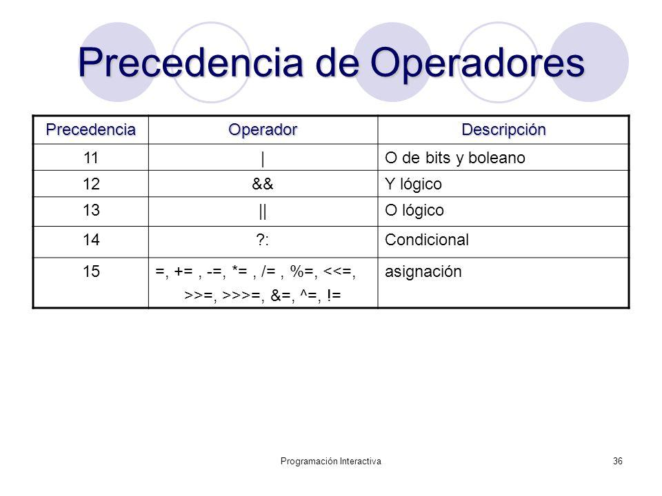Programación Interactiva36 Precedencia de Operadores PrecedenciaOperadorDescripción 11|O de bits y boleano 12&&Y lógico 13||O lógico 14?:Condicional 1