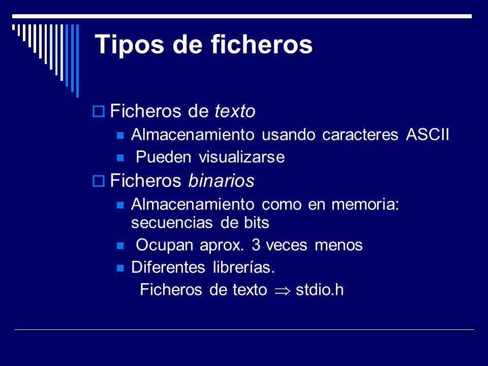 Tipos de ficheros Ficheros de texto Almacenamiento usando caracteres ASCII Pueden visualizarse Ficheros binarios Almacenamiento como en memoria: secue