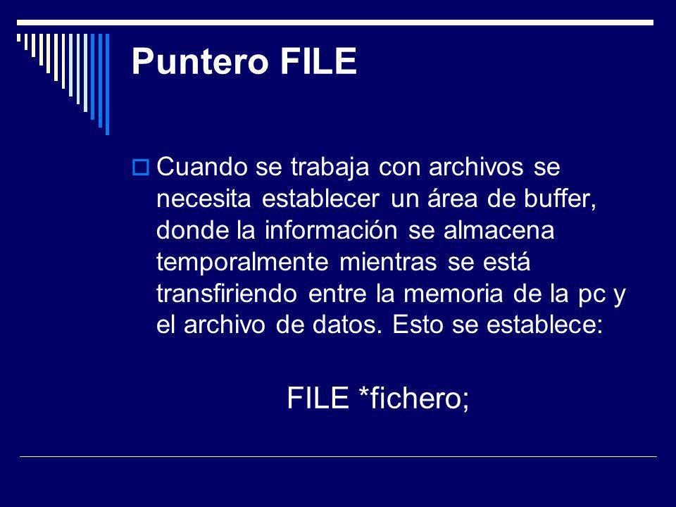 Apertura de un archivo fichero= fopen(nombre_archivo, modo); Modo de apertura r Abre para lectura w Abre para crear un archivo (si existe se pierden sus datos).