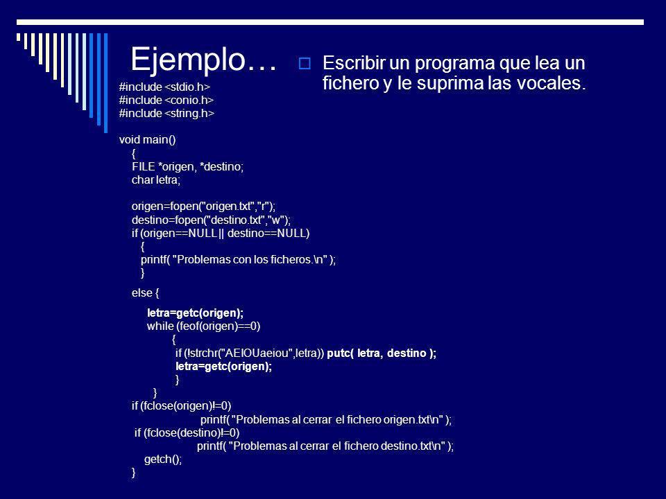 Ejemplo… Escribir un programa que lea un fichero y le suprima las vocales. #include void main() { FILE *origen, *destino; char letra; origen=fopen(
