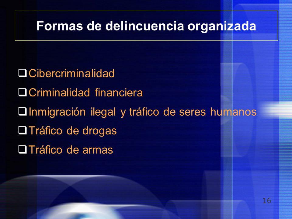 16 Formas de delincuencia organizada Cibercriminalidad Criminalidad financiera Inmigración ilegal y tráfico de seres humanos Tráfico de drogas Tráfico
