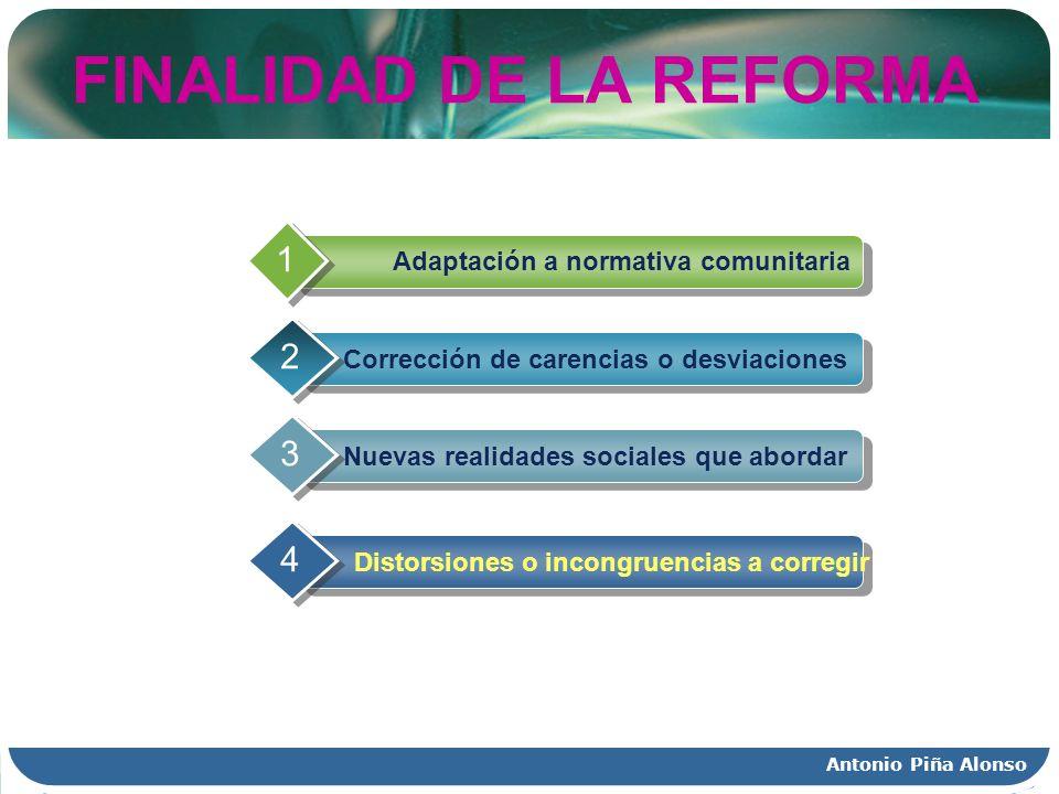 Antonio Piña Alonso FINALIDAD DE LA REFORMA Adaptación a normativa comunitaria 1 Corrección de carencias o desviaciones 2 Nuevas realidades sociales q