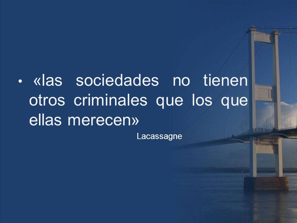 «las sociedades no tienen otros criminales que los que ellas merecen» Lacassagne