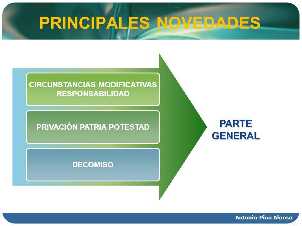 Antonio Piña Alonso PRINCIPALES NOVEDADES CIRCUNSTANCIAS MODIFICATIVAS RESPONSABILIDAD PRIVACIÓN PATRIA POTESTAD DECOMISO PARTE GENERAL