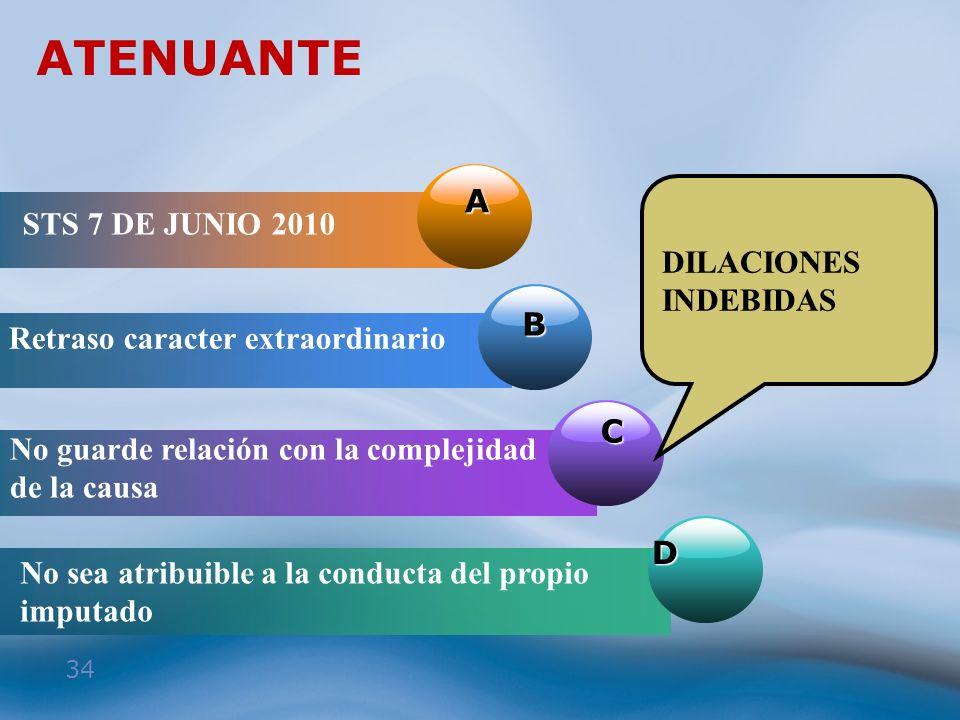 34 ATENUANTE A STS 7 DE JUNIO 2010 B Retraso caracter extraordinario C No guarde relación con la complejidad de la causa D No sea atribuible a la cond