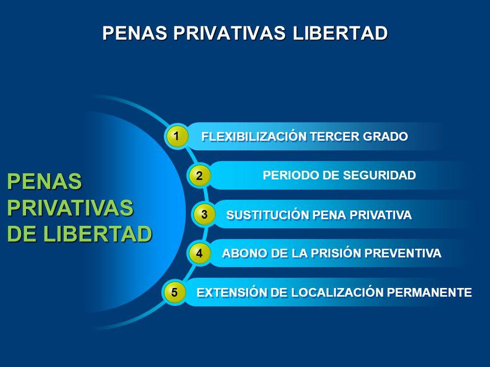 PENAS PRIVATIVAS LIBERTAD PENASPRIVATIVAS DE LIBERTAD 1 FLEXIBILIZACIÓN TERCER GRADO PERIODO DE SEGURIDAD 2 3 SUSTITUCIÓN PENA PRIVATIVA 4 ABONO DE LA