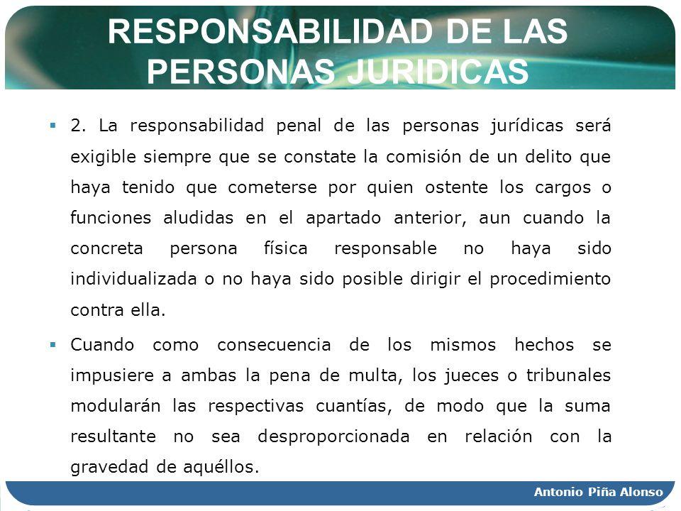 Antonio Piña Alonso RESPONSABILIDAD DE LAS PERSONAS JURIDICAS 2. La responsabilidad penal de las personas jurídicas será exigible siempre que se const
