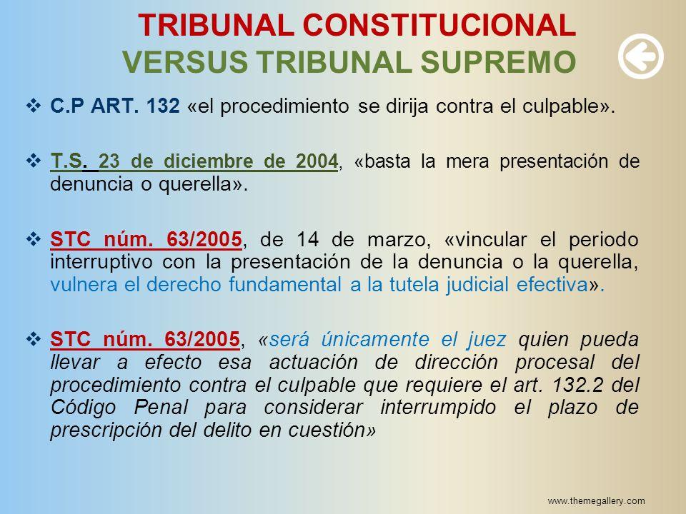 www.themegallery.com TRIBUNAL CONSTITUCIONAL VERSUS TRIBUNAL SUPREMO C.P ART. 132 «el procedimiento se dirija contra el culpable». T.S. 23 de diciembr