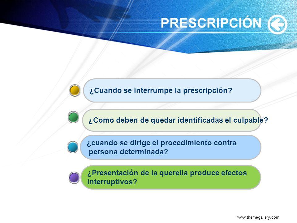 www.themegallery.com PRESCRIPCIÓN ¿Presentación de la querella produce efectos interruptivos? ¿cuando se dirige el procedimiento contra persona determ