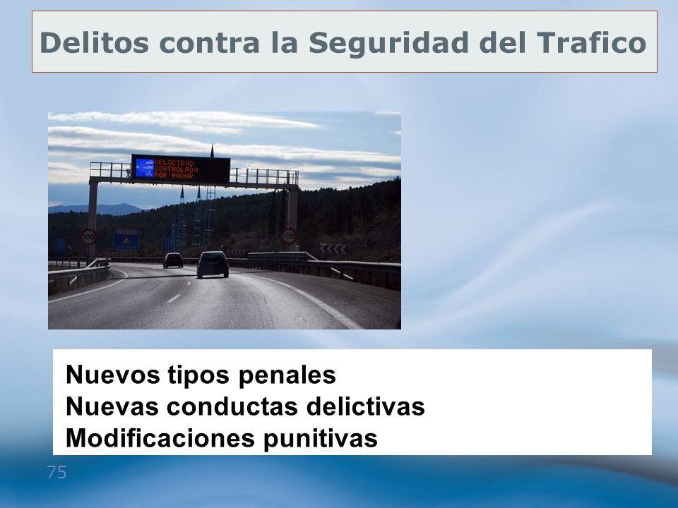 75 Delitos contra la Seguridad del Trafico Nuevos tipos penales Nuevas conductas delictivas Modificaciones punitivas