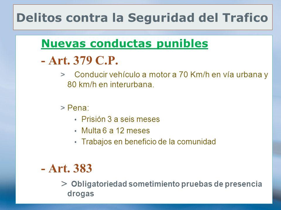 76 Delitos contra la Seguridad del Trafico Nuevas conductas punibles - Art. 379 C.P. >Conducir vehículo a motor a 70 Km/h en vía urbana y 80 km/h en i