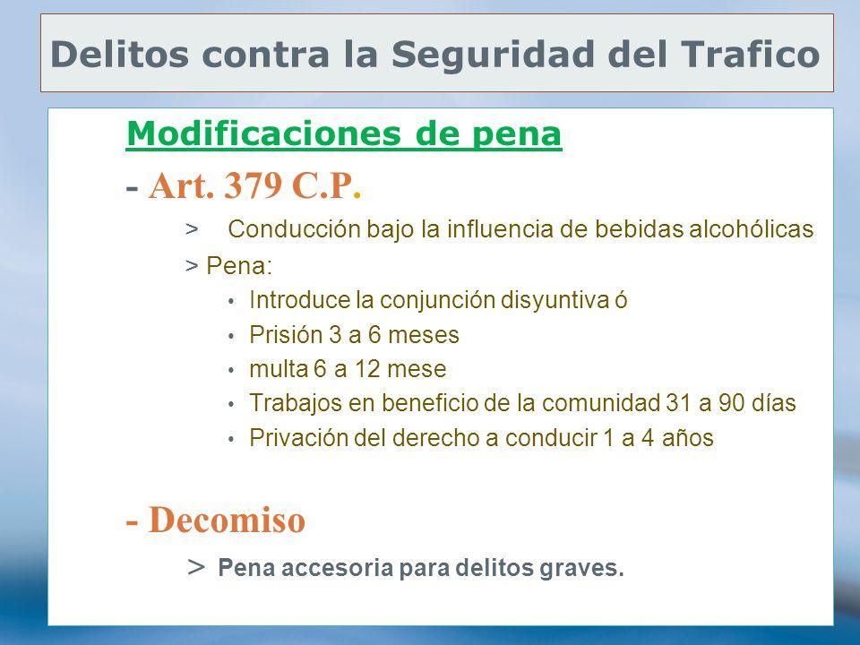 77 Delitos contra la Seguridad del Trafico Modificaciones de pena - Art. 379 C.P. >Conducción bajo la influencia de bebidas alcohólicas >Pena: Introdu