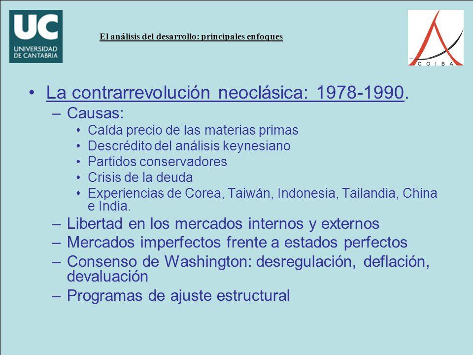 El análisis del desarrollo: principales enfoques La contrarrevolución neoclásica: 1978-1990.