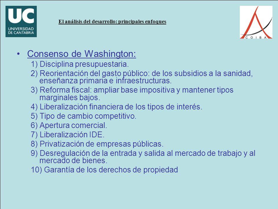 El análisis del desarrollo: principales enfoques Consenso de Washington: 1) Disciplina presupuestaria.