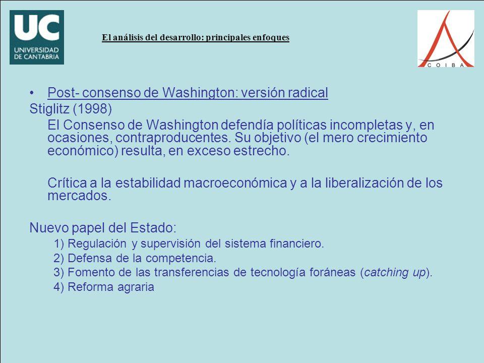 El análisis del desarrollo: principales enfoques Post- consenso de Washington: versión radical Stiglitz (1998) El Consenso de Washington defendía políticas incompletas y, en ocasiones, contraproducentes.