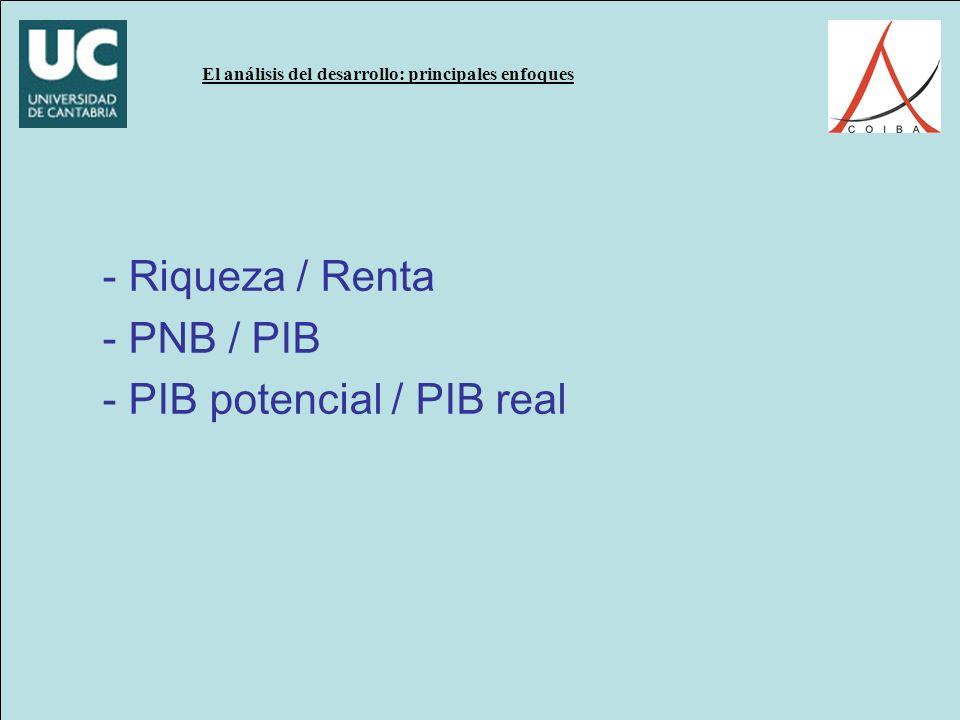 El análisis del desarrollo: principales enfoques - Riqueza / Renta - PNB / PIB - PIB potencial / PIB real