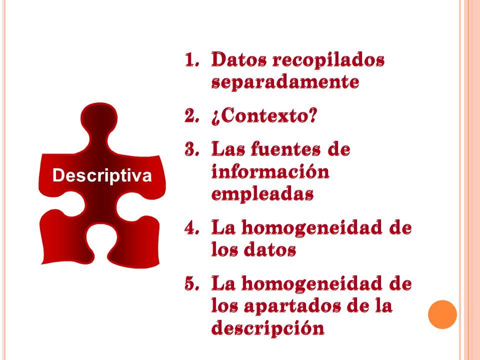 Descriptiva 1.Datos recopilados separadamente 2.¿Contexto? 3.Las fuentes de información empleadas 4.La homogeneidad de los datos 5.La homogeneidad de