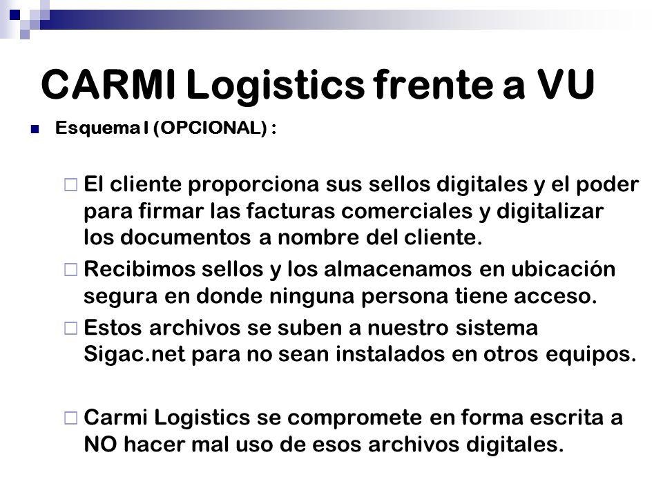 CARMI Logistics frente a VU Esquema I (OPCIONAL) : El cliente proporciona sus sellos digitales y el poder para firmar las facturas comerciales y digit