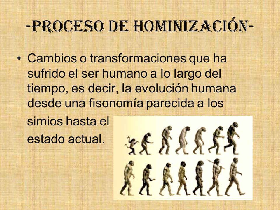 -Proceso de hominización- Cambios o transformaciones que ha sufrido el ser humano a lo largo del tiempo, es decir, la evolución humana desde una fison