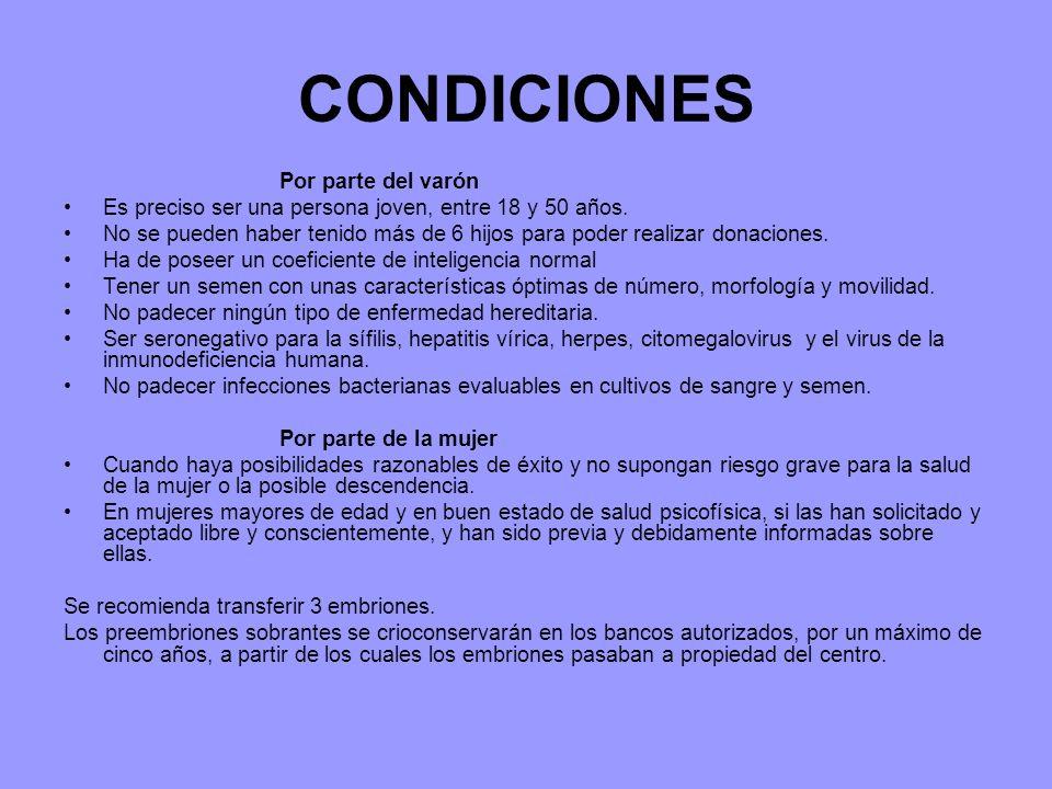 CONDICIONES Por parte del varón Es preciso ser una persona joven, entre 18 y 50 años.