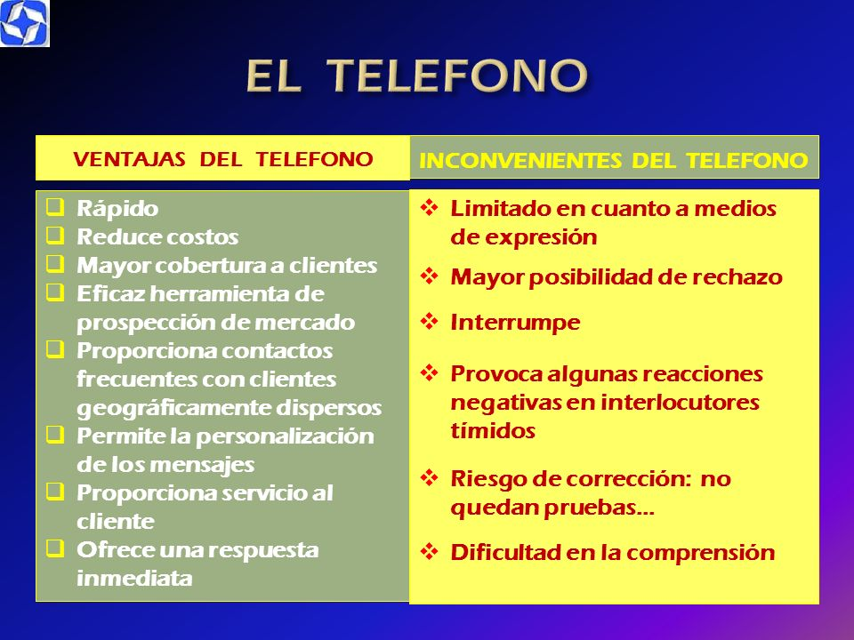VENTAJAS DEL TELEFONO Rápido Reduce costos Mayor cobertura a clientes Eficaz herramienta de prospección de mercado Proporciona contactos frecuentes co