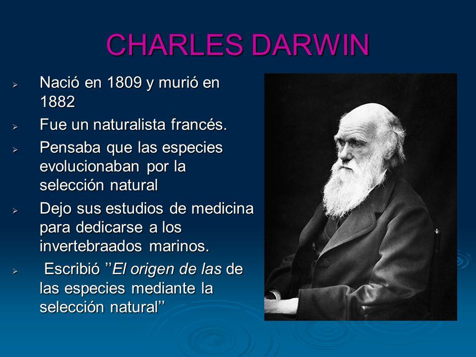 CHARLES DARWIN Nació en 1809 y murió en 1882 Nació en 1809 y murió en 1882 Fue un naturalista francés. Fue un naturalista francés. Pensaba que las esp