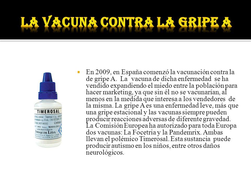 En 2009, en España comenzó la vacunación contra la de gripe A. La vacuna de dicha enfermedad se ha vendido expandiendo el miedo entre la población par