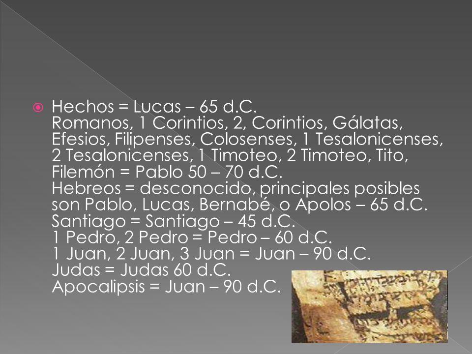 Hechos = Lucas – 65 d.C. Romanos, 1 Corintios, 2, Corintios, Gálatas, Efesios, Filipenses, Colosenses, 1 Tesalonicenses, 2 Tesalonicenses, 1 Timoteo,