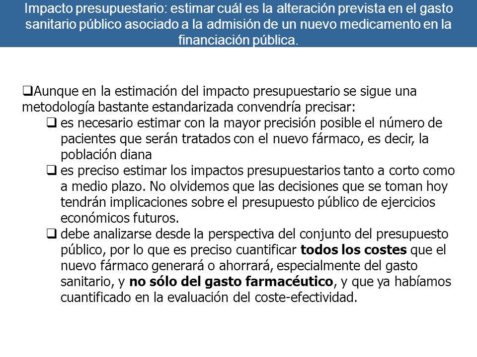 Impacto presupuestario: estimar cuál es la alteración prevista en el gasto sanitario público asociado a la admisión de un nuevo medicamento en la fina