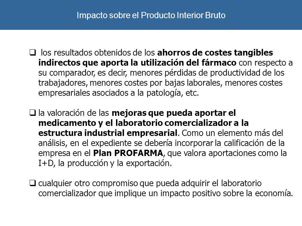Impacto sobre el Producto Interior Bruto los resultados obtenidos de los ahorros de costes tangibles indirectos que aporta la utilización del fármaco