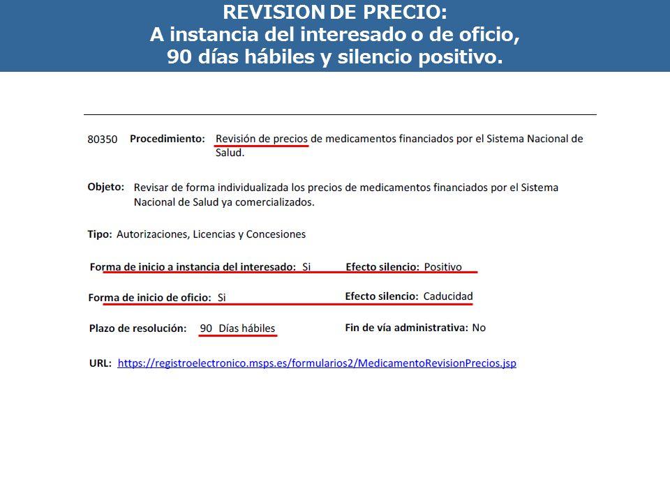 INCLUSION EN LA PRESTACION FARMACEUTICA: 180 días hábiles y silencio negativo. ?