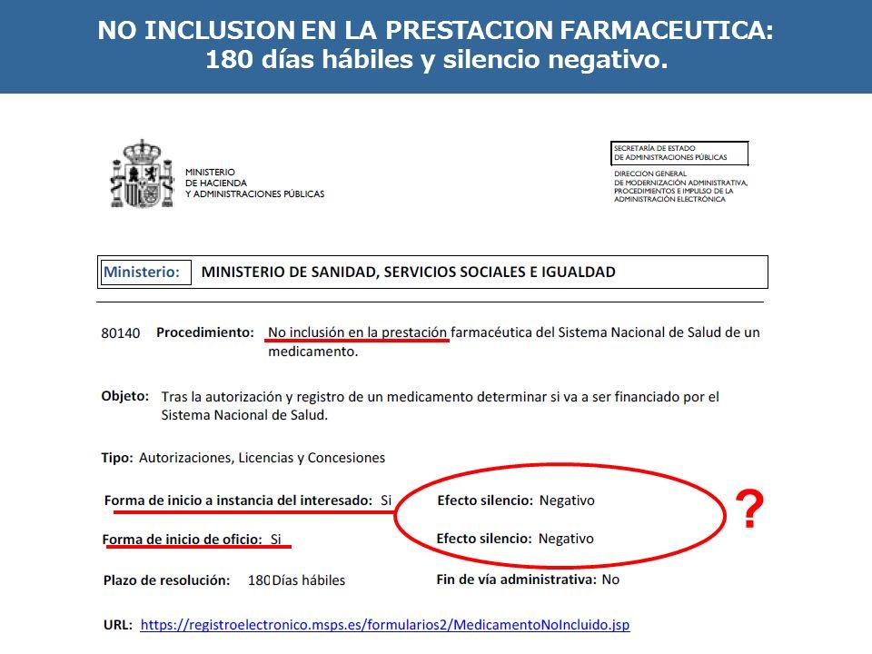 NO INCLUSION EN LA PRESTACION FARMACEUTICA: 180 días hábiles y silencio negativo. ?