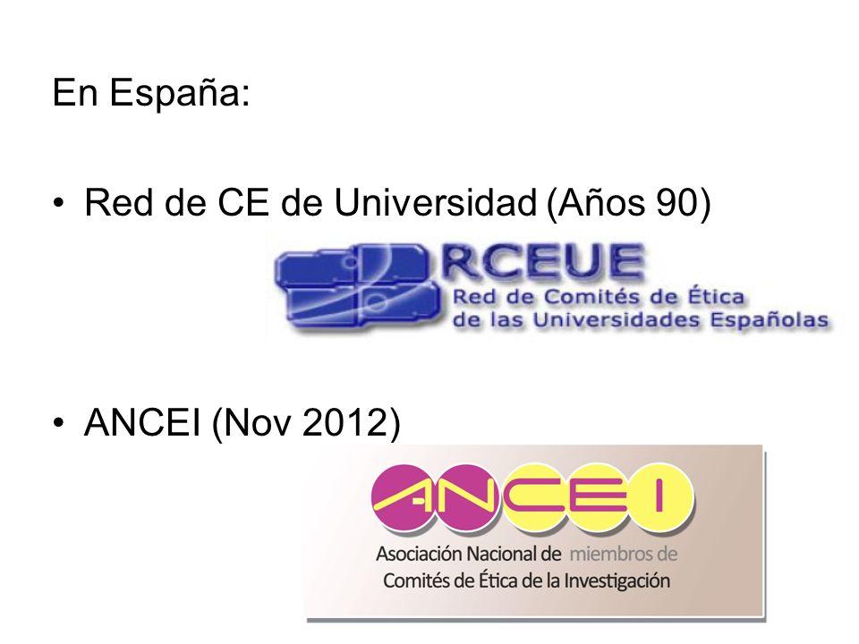 En España: Red de CE de Universidad (Años 90) ANCEI (Nov 2012)