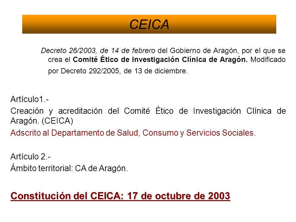 CEICA Decreto 26/2003, de 14 de febrero del Gobierno de Aragón, por el que se crea el Comité Ético de Investigación Clínica de Aragón. Modificado por