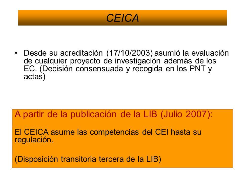 Desde su acreditación (17/10/2003) asumió la evaluación de cualquier proyecto de investigación además de los EC. (Decisión consensuada y recogida en l