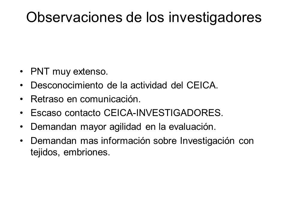 Observaciones de los investigadores PNT muy extenso. Desconocimiento de la actividad del CEICA. Retraso en comunicación. Escaso contacto CEICA-INVESTI