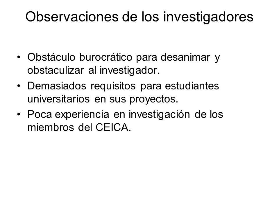 Observaciones de los investigadores Obstáculo burocrático para desanimar y obstaculizar al investigador. Demasiados requisitos para estudiantes univer