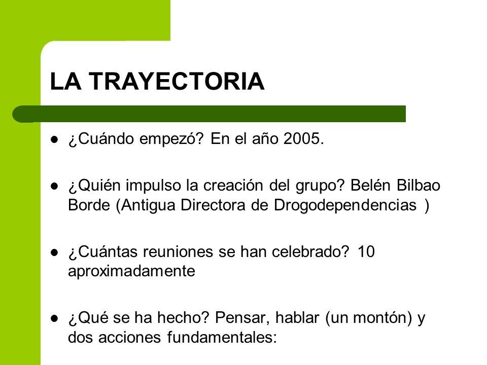 LA TRAYECTORIA ¿Cuándo empezó? En el año 2005. ¿Quién impulso la creación del grupo? Belén Bilbao Borde (Antigua Directora de Drogodependencias ) ¿Cuá