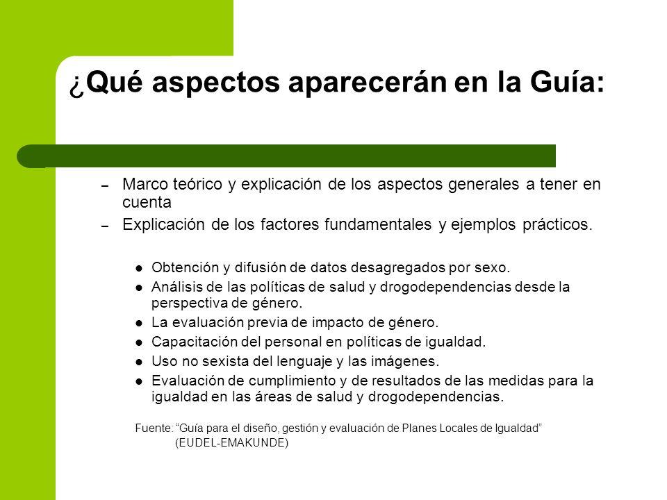 ¿Qué aspectos aparecerán en la Guía: – Marco teórico y explicación de los aspectos generales a tener en cuenta – Explicación de los factores fundament
