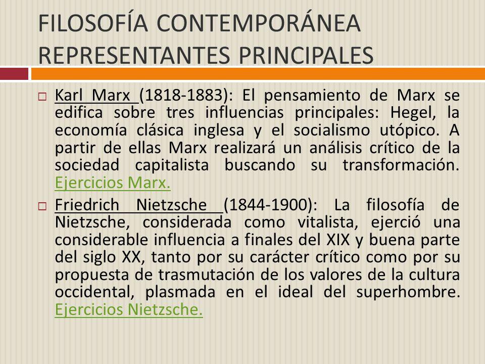 FILOSOFÍA CONTEMPORÁNEA REPRESENTANTES PRINCIPALES Karl Marx (1818-1883): El pensamiento de Marx se edifica sobre tres influencias principales: Hegel,