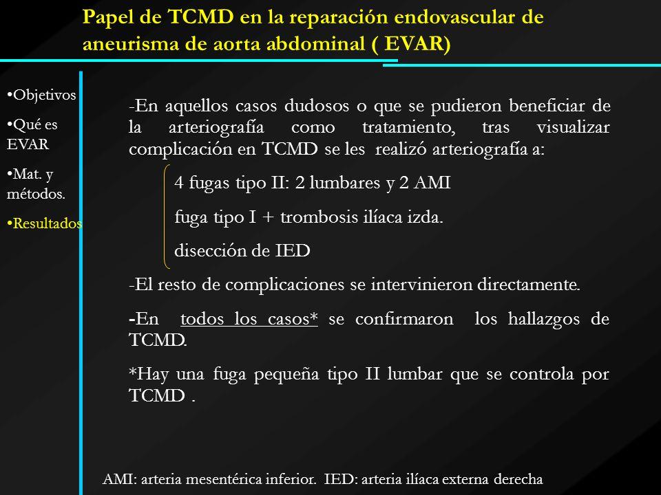 Papel de TCMD en la reparación endovascular de aneurisma de aorta abdominal ( EVAR) -En aquellos casos dudosos o que se pudieron beneficiar de la arte