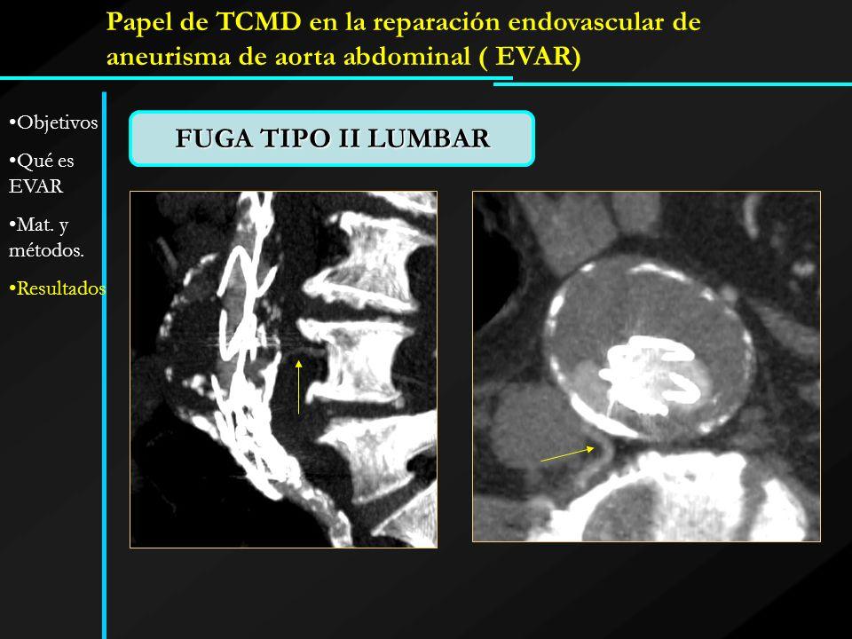 FUGA TIPO II LUMBAR Papel de TCMD en la reparación endovascular de aneurisma de aorta abdominal ( EVAR) Objetivos Qué es EVAR Mat. y métodos. Resultad