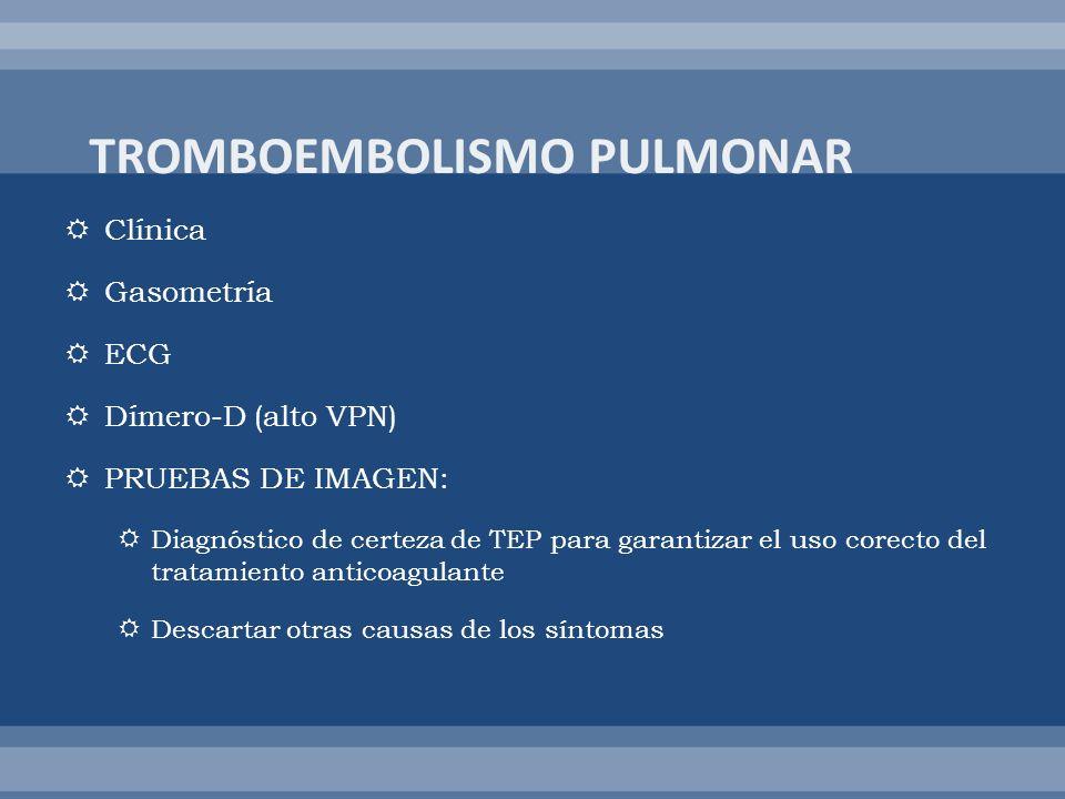 Clínica Gasometría ECG Dímero-D (alto VPN) PRUEBAS DE IMAGEN: Diagnóstico de certeza de TEP para garantizar el uso corecto del tratamiento anticoagula