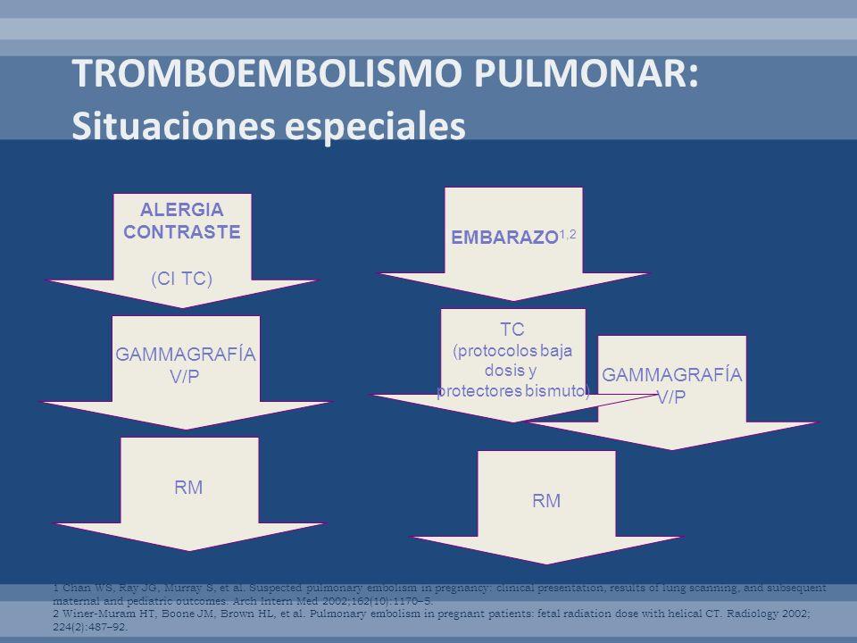 ALERGIA CONTRASTE (CI TC) GAMMAGRAFÍA V/P RM EMBARAZO 1,2 GAMMAGRAFÍA V/P RM TC (protocolos baja dosis y protectores bismuto) 1 Chan WS, Ray JG, Murra