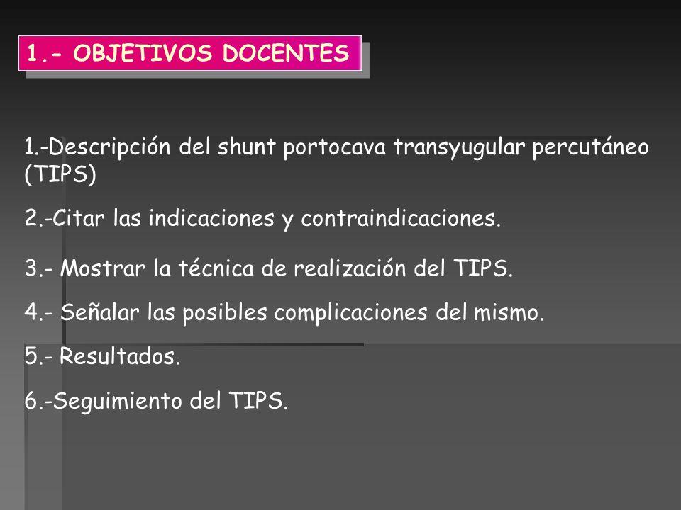 1.- OBJETIVOS DOCENTES 1.-Descripción del shunt portocava transyugular percutáneo (TIPS) 2.-Citar las indicaciones y contraindicaciones. 3.- Mostrar l